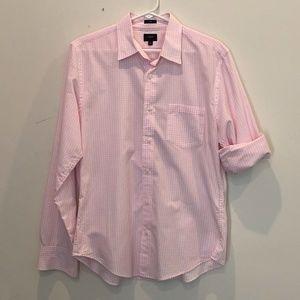 J. Crew Men's Medium Slim Pink/White Plaid Shirt